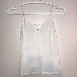 Garage All White Eyelet Cut Spaghetti StrapTankTop
